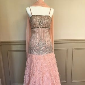 Sue Wong Peach Gown with Platinum Beading - Size 4
